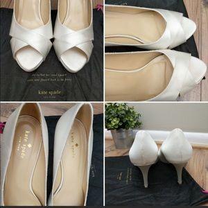 Kate Spade Satin Ivory Peep Toe Wedding Heel